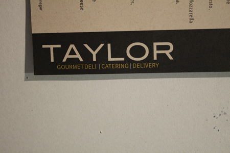 The kerning is a bit funny // Taylor Gourmet